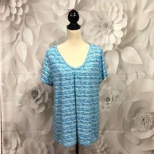 St. John's Bay Turquoise/White Short Sleeve Tee 1X